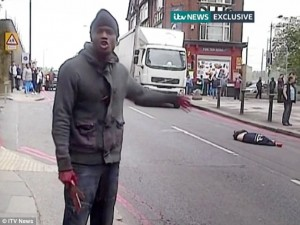 'You and your children will be next': Islamic fanatics wielding meat cleavers butcher and try to behead a British soldier, taking their war on the West to a new level of horror Read more: http://www.dailymail.co.uk/news/article-2329089/Woolwich-attack-Two-men-hack-soldier-wearing-Help-Heroes-T-shirt-death-machetes-suspected-terror-attack.html#ixzz3vBYSjOqo